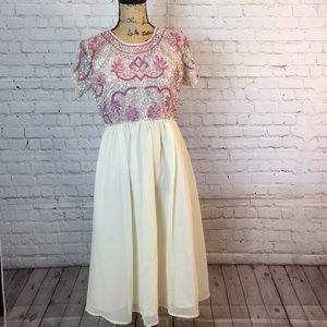 NWT ASOS formal ivory/pink sequins bodice dress